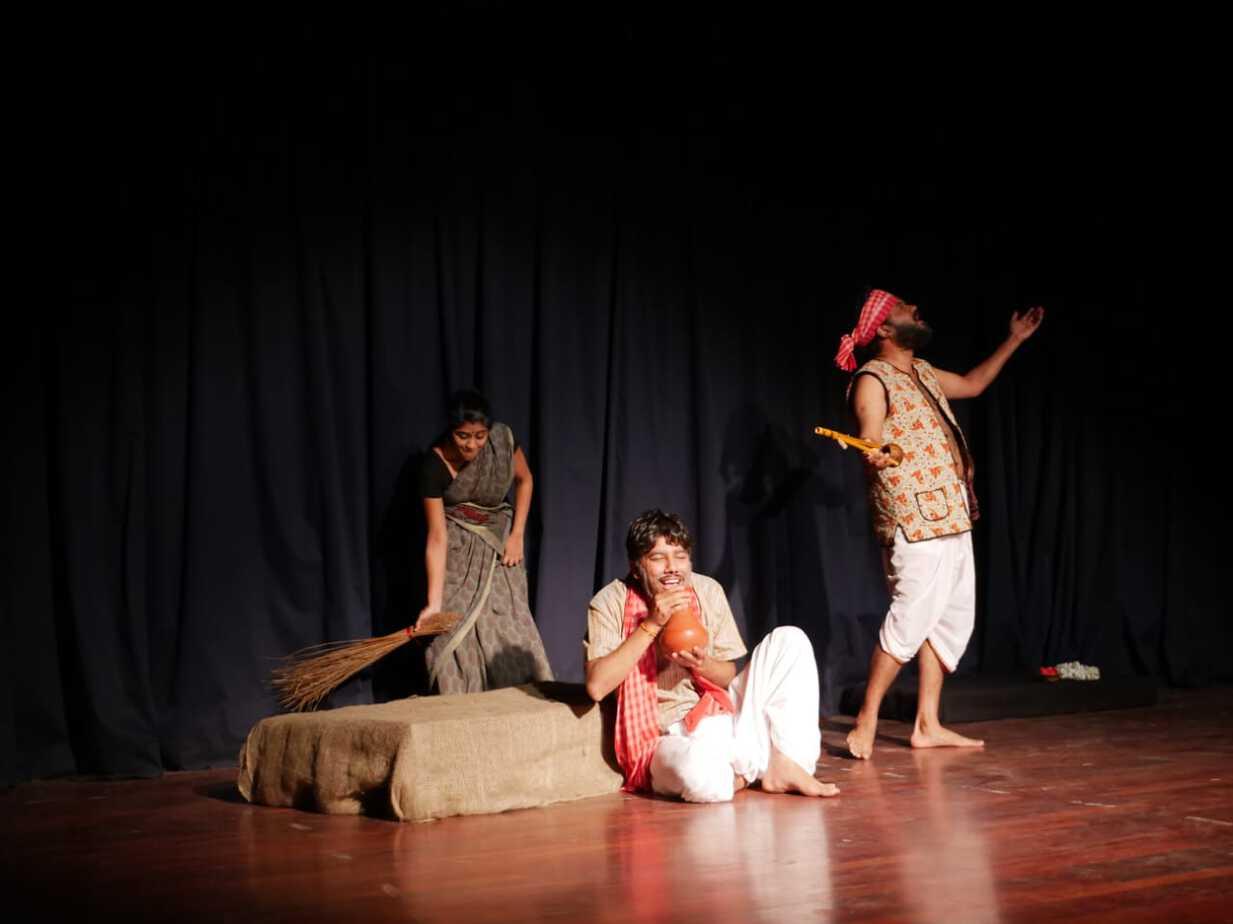 Actors performing Tagore's Red. Pic: Sourav Dey