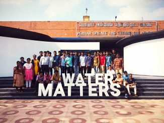 A lively group of Loyola College students visiting the Water Matters exhibiton. Pic: Care Earth Trust/ Facebook