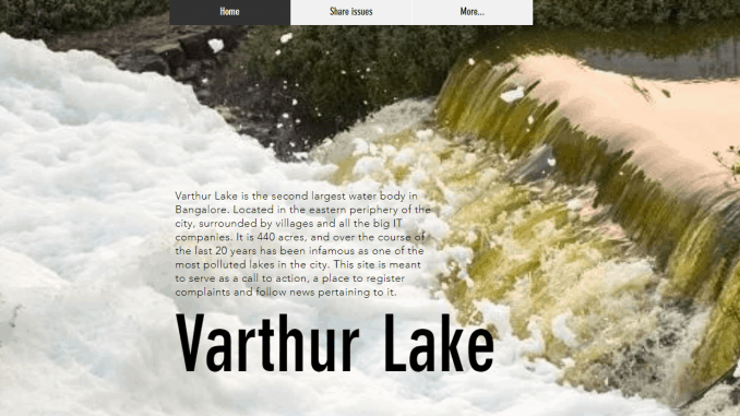www.varthurlake.com is a citizen led initiative to safe guard and rejuvenate the Varthur lake. Seen here is a screenshot of the website.